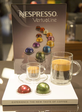 NEW YORK - APRIL1  Variety of coffee capsules in Nespresso store in New York on April 1, 2014  Nespresso is an operating unit of the Nestle Group based in Lausanne, Switzerland
