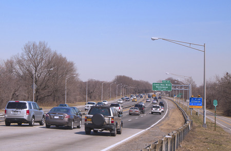 boroughs: BROOKLYN,NY -MARCH 27 Belt Parkway in Brooklyn on March 27, 2014 The Belt System is a series of connected highways that form a belt-like circle around the New York City boroughs of Brooklyn and Queens