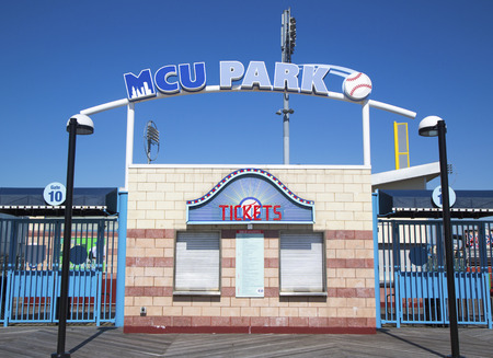 dodgers: BROOKLYN, NY - MARCH 18  MCU ballpark ticket booth in the Coney Island section of Brooklyn on March 18, 2014  It is home for Brooklyn Cyclones team affiliated with the New York Mets