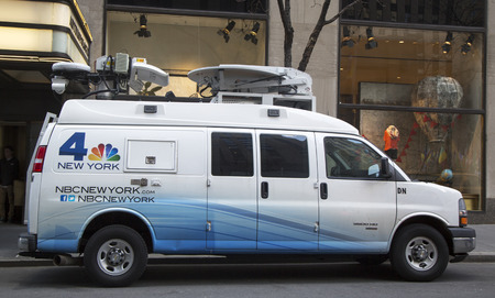 eyewitness: NEW YORK - MARCH 20  WNBC Channel 4 van in midtown Manhattan on March 20, 2014  WNBC is a television station located in New York City and is the flagship station of the television network