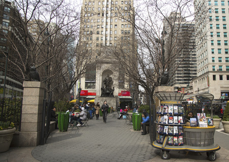 headquartered: NEW YORK - APRIL 1  Herald Square on Broadway in Manhattan on April 1, 2014  Named for the New York Herald, a now-defunct newspaper formerly headquartered there  Editorial