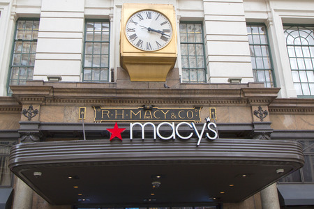 NEW YORK - APRIL 1  Sign at Macy s Herald Square on Broadway in Manhattan on April 1 , 2014  In 1924 Macy s was declared the  World s Largest Store