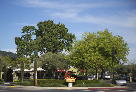 silverado: YOUNTVILLE, CA - APRIL 16  On the street of Yountville,Napa Valley on April 16, 2014  Town of Yountville noted destination for gourmet diners  Yountville boasts four Michelin starred restaurants