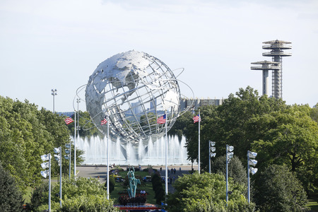 FLUSHING, NY - SEPTEMBER 5 1964 New York World s Fair Unisphere in Flushing Meadows Park on September 5, 2013  It is the world s largest global structure, rising 140 feet and weighing 700 000 pounds