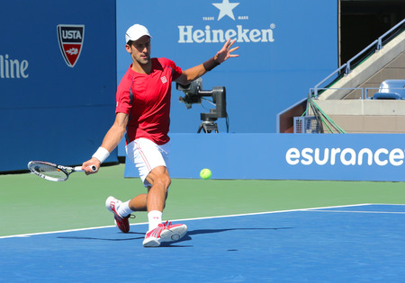 billie: NEW YORK - AUGUST 25  Professional tennis player Novak Djokovic practices for US Open 2013 at Billie Jean King National Tennis Center on August 25, 2013 in New York