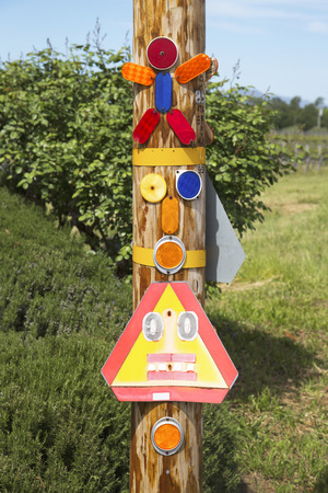delimitation: Colorful road reflectors on the side of the road Stock Photo