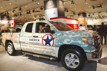 NEW YORK - APRIL 24  2015 Toyota Tundra Truck at the 2014 New York International Auto Show running from April 18-27 2014 in Jacob Javits Convention Center in New York Editorial