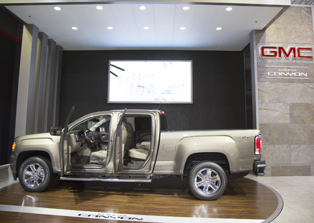 NEW YORK - APRIL 24  2015 GMC Canyon Super 44 Flowmaster  Car at the 2014 New York International Auto Show running from April 18-27 2014 in Jacob Javits Convention Center in New York