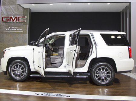NEW YORK - APRIL 24  2015 GMC Yukon  XL Denali Car at the 2014 New York International Auto Show running from April 18-27 2014 in Jacob Javits Convention Center in New York