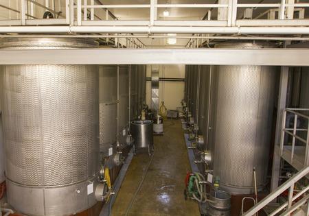 sauvignon blanc: Stainless steel fermentation tanks at the vineyard