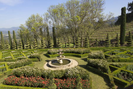 topiary: Topiary Landscaping in a Formal English Garden  Stock Photo