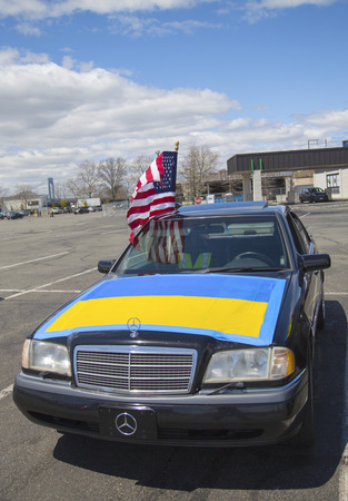 seized: NEW YORK - APRIL 27  Ukraine supporter car in Brooklyn on April 27, 2014  The 2014 Ukrainian revolution continued with the 2014 Crimean crisis when Russian forces seized control of the Crimea region