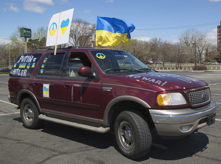 continued: NEW YORK - APRIL 27  Ukraine supporter car in Brooklyn on April 27, 2014  The 2014 Ukrainian revolution continued with the 2014 Crimean crisis when Russian forces seized control of the Crimea region