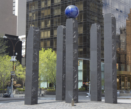 NEW YORK - APRIL 27  Monument dedicated to Raoul Wallenberg in Manhattan on April 27, 2014  Monument named Hope is the work of Swedish artist Gustav Kraitz, it is placed opposite to the UN building