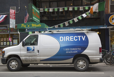 NEW YORK CITY - MARCH 20  DirecTV van in Manhattan on March 20, 2014  DirecTV is an American direct broadcast satellite service provider and broadcaster based in El Segundo, California