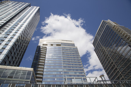 gentrification: BROOKLYN, NEW YORK - MAY 1  Modern condominium buildings in Williamsburg neighborhood of Brooklyn on May 1, 2014