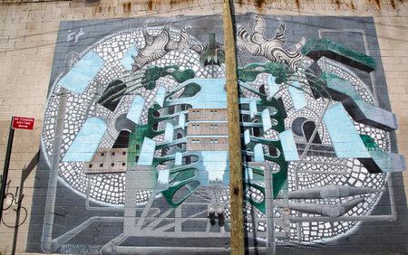 chris: NUEVA YORK - 06 de mayo - Iconic Antiquated gigante mural del artista Chris Soria en el Proyecto India Street Mural en Brooklyn el 06 de mayo 2014