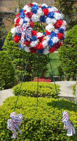 뉴욕 - 2014년 5월 18일 뉴욕에서 군사 기념관에서 현충일에 5월 18일 화환 에디토리얼