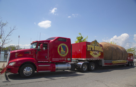 russet potato: NEW YORK - MAY 18  The Famous Idaho Potato Tour with The World�s Largest Potato on Wheels presented in Brooklyn on May 18, 2014  It is giant 12,000 lb fabricated Idaho Russet potato on a big truck