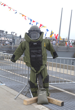 bullet proof: NEW YORK - MAY 22  Bomb squad suit on display during Fleet Week 2014 on May 22, 2014 in New York