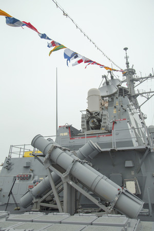 NEW YORK - MAY 22 Harpoon cruise missile launchers on the deck of US guided missile destroyer USS Cole during Fleet Week 2014 on May 22, 2014 in New York
