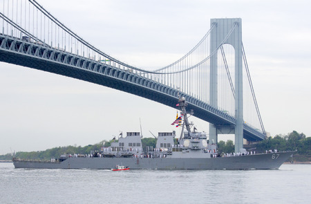 NEW YORK - MAY 21  USS Cole guided missile destroyer of the United States Navy during parade of ships at  Fleet Week 2014 on May 21, 2014 in New York Harbor