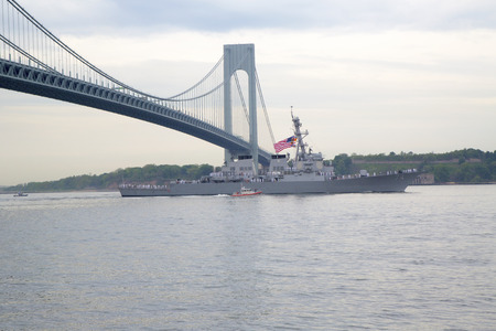 NEW YORK - MAY 21  USS McFaul guided missile destroyer of the United States Navy during parade of ships at  Fleet Week 2014 on May 21, 2014 in New York Harbor