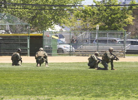 freeport: FREEPORT, NEW YORK - MAY 25 US Navy EOD team during mine countermeasures demonstration during Fleet Week 2014 in Long Island on May 25, 2014