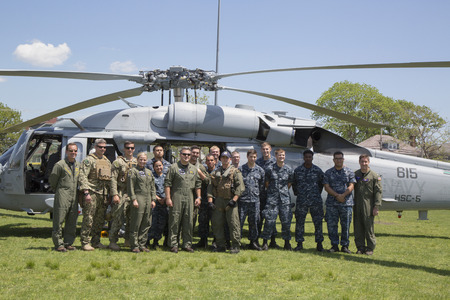 countermeasures: FREEPORT, NEW YORK - MAY 25  Helicopter Sea Combat Squadron Five with US Navy EOD team in the front of  MH-60S during Fleet Week 2014 on May 25, 2014 Editorial