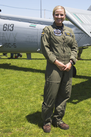 freeport: FREEPORT, NEW YORK - MAY 25 Unidentified helicopter pilot after mine countermeasures demonstration during Fleet Week 2014 in Long Island on May 25, 2014