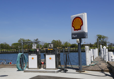 freeport: FREEPORT, NEW YORK - MAY 29  Shell fuel station for boats on the dock in Freeport, Long Island on May 29, 2014 Editorial