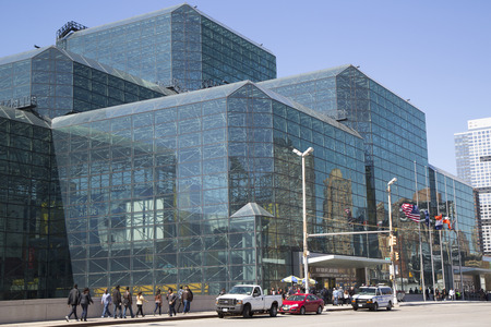 NEW YORK - APRIL 24  Javits Convention Center in Manhattan on April 24, 2014  The convention center has a total area space of 1,800, 000 square ft and has 840,000 square ft of total exhibit space  Redakční