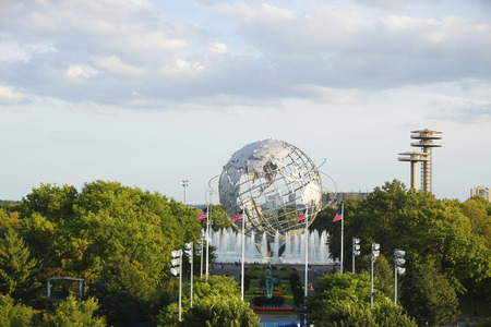 FLUSHING, NY - SEPTEMBER 3 1964 New York World s Fair Unisphere in Flushing Meadows Park on September 3, 2013  It is the world s largest global structure, rising 140 feet and weighing 700 000 pounds