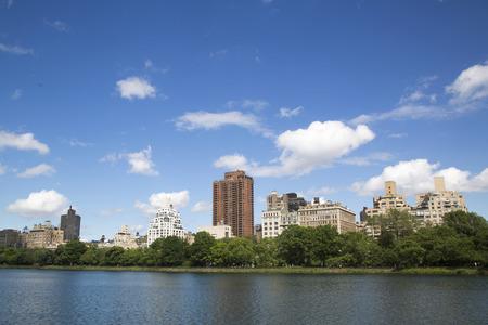city park skyline: New York City skyline from Central Park  Stock Photo