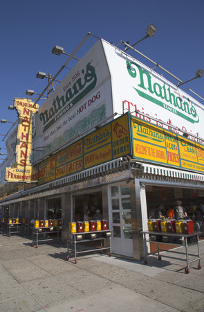 exists: BROOKLYN, NEW YORK - MAY 17 The Nathan s original restaurant on May 17, 2014 at Coney Island, New York  The original Nathan s still exists on the same site that it did in 1916