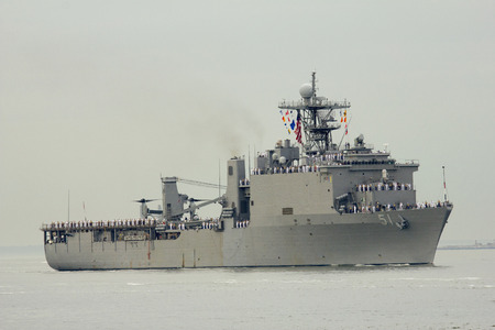 NEW YORK - MAY 21  USS Oak Hill dock landing ship of the United States Navy during parade of ships at Fleet Week 2014 on May 21, 2014 in New York Harbor