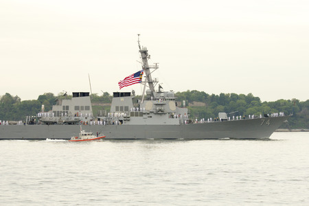 NEW YORK - MAY 21 USS McFaul guided missile destroyer of the United States Navy during parade of ships at Fleet Week 2014 on May 21, 2014 in New York Harbor  Stock Photo - 29137757