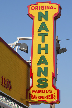 BROOKLYN, NEW YORK - MAY 17 The Nathan s original restaurant sign on May 17, 2014 at Coney Island, New York  The original Nathan s still exists on the same site that it did in 1916  Stock Photo - 29137826