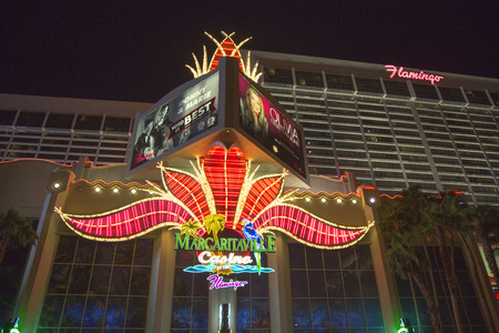 siegel: LAS VEGAS, NEVADA - MAY 12   Neon sign in the front of Flamingo Las Vegas Hotel and Casino on May 12, 2014  Mobster Bugsy Siegel opened The Flamingo Hotel   Casino on December 26, 1946