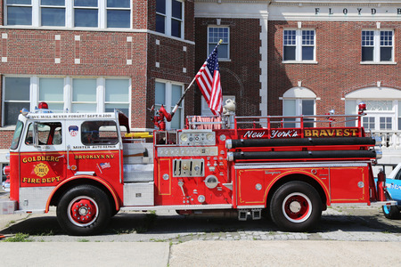 BROOKLYN, NEW YORK - JUNE 8  Fire truck on display at the Antique Automobile Association of Brooklyn annual Spring Car Show on June 8, 2014 in Brooklyn, New York