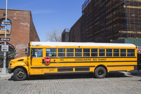 NEW YORK CITY- APRIL 24  School bus in Brooklyn on April 24, 2014  NYC has the largest school transportation department in the country