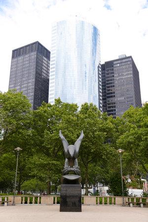 NEW YORK - JUNE 24  Bronze eagle designed by Albino Manca of the East Coast Memorial in memory of combat in the vast Atlantic Ocean during World War 2 in Lower Manhattan on June 24, 2014