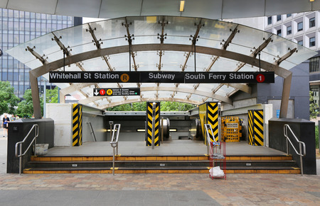 subway entrance: NEW YORK CITY - JUNE 24   Whitehall Street and South Ferry subway entrance in Manhattan on June 24, 2014  Owned by the NYC Transit Authority, the subway system has 469 stations in operation  Editorial