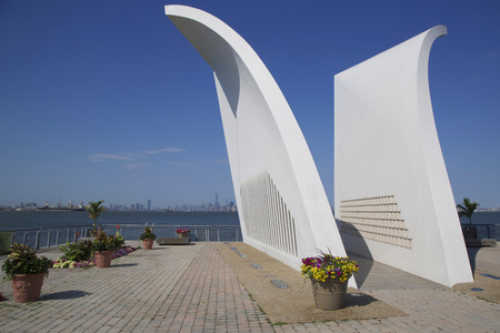 9 11: NEW YORK - JUNE 24  Postcards 9 11 memorial in Staten Island on June 24, 2014  Built in 2004, it is a permanent memorial honoring the 274 Staten Island residents killed in the September 11 attack
