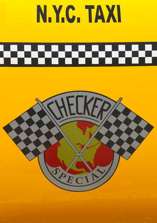checker: NEW YORK - JUNE 21 Checker Taxi Cab produced by the Checker Motors Corporation In New York on June 21, 2014  The Checker remains the most famous taxi cab vehicle in the United States