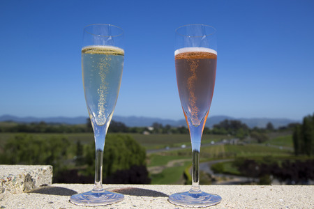 Glasses with sparkling wine photo