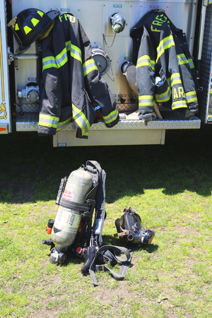 freeport: FREEPORT, NEW YORK - MAY 25 Fire fighter gear in Freeport on May 25, 2014