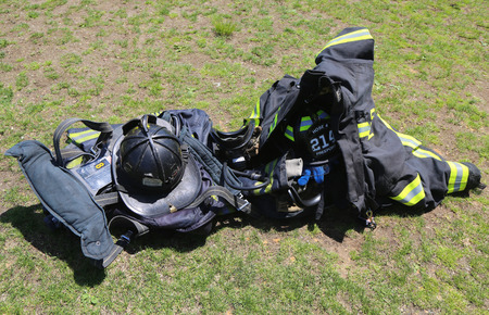 FREEPORT, NEW YORK - MAY 25 Fire fighter gear in Freeport on May 25, 2014