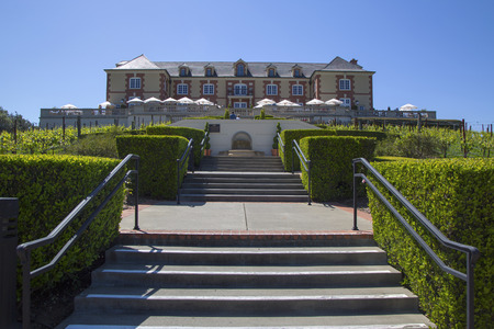 singular architecture: NAPA VALLEY, CA - APRIL 13  Domaine Carneros Winery in Napa Valley on April 13, 2014 Domaine Carneros is a singular winery best known as a small grower producer of methode champenoise sparkling wine