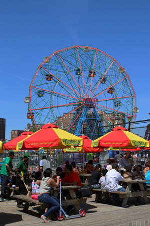 BROOKLYN, NEW YORK - JUNE 15 The Nathan s restaurant on boardwalk  at Coney Island, New York on June 15, 2014  The original Nathan s still exists on the same site that it did in 1916 Stock Photo - 29557357